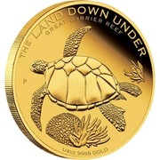 Australia 25 Dollars The Land Down Under - Great Barrier Reef 2014 KM# 2180 THE LAND DOWN UNDER GREAT BARRIER REEF 1/4 OZ 9999 GOLD P coin reverse