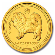 Australia 25 Dollars Year of the Dog 2006 KM# 1892a 2006 1/4 OZ 9999 GOLD P coin reverse