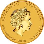 Australia 25 Dollars Year of the Dog 2018 ELIZABETH II AUSTRALIA 1/4 OZ 9999 GOLD 2018 25 DOLLARS IRB coin obverse