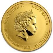 Australia 25 Dollars Year of the Dragon (Colorized) 2012 ELIZABETH II AUSTRALIA 1/4 OZ 9999 GOLD 2012 25 DOLLARS IRB coin obverse