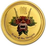 Australia 25 Dollars Year of the Dragon (Colorized) 2012 YEAR OF THE DRAGON P coin reverse