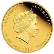 Australia 25 Dollars Year of the Monkey 2016 ELIZABETH II AUSTRALIA 1/4 OZ 9999 GOLD 2016 25 DOLLARS IRB coin obverse