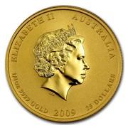 Australia 25 Dollars Year of the Ox (Colorized) 2009 ELIZABETH II AUSTRALIA 1/4 OZ 9999 GOLD 2009 25 DOLLARS IRB coin obverse