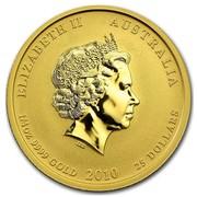 Australia 25 Dollars Year of the Tiger (Colorized) 2010 ELIZABETH II AUSTRALIA 1/4 OZ 9999 GOLD 2010 25 DOLLARS IRB coin obverse