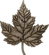Canada 250 Dollars Maple Leaf Shaped 2017 250 DOLLARS 9999 FINE SILVER 1 KG ARGENT PUR 2017 LTK coin reverse