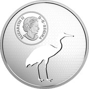 Canada 30 Dollars Animal Cutout - Whooping Crane 2017 ELIZABETH II D G REGINA SB coin obverse
