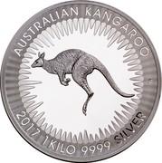 Australia 30 Dollars Kangaroo bounding left 2017 AUSTRALIAN KANGAROO 2017 1 KILO 9999 SILVER P coin reverse