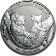 Australia 30 Dollars Koalas on a tree branch 2011 AUSTRALIAN KOALA 2011 KILO 999 SILVER P coin reverse