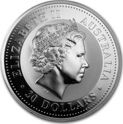 Australia 30 Dollars Kookaburra perch on a wire fence 2008 ELIZABETH II AUSTRALIA 30 DOLLARS IRB coin obverse