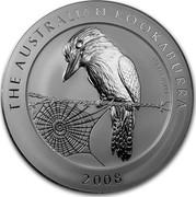Australia 30 Dollars Kookaburra perch on a wire fence 2008 THE AUSTRALIAN KOOKABURRA 1 KG 999 SILVER 2008 coin reverse
