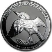 Australia 30 Dollars Kookaburra perched on a tree stump 2011 AUSTRALIAN KOOKABURRA 2011 1 KILO 999 SILVER P coin reverse
