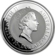 Australia 30 Dollars Kookaburras at a nest 1997 ELIZABETH II AUSTRALIA 30 DOLLARS coin obverse