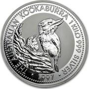 Australia 30 Dollars Kookaburras at a nest 1997 THE AUSTRALIAN KOOKABURRA 1 KILO 999 SILVER 1997 coin reverse