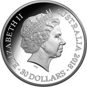 Australia 30 Dollars Lunar Dog 2018 ELIZABETH II AUSTRALIA 2018 30 DOLLARS IRB coin obverse