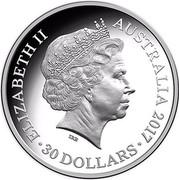 Australia 30 Dollars Lunar Rooster 2017 ELIZABETH II AUSTRALIA 2017 30 DOLLARS IRB coin obverse