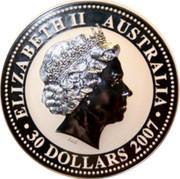 Australia 30 Dollars Lunar Year of the Ox (Colorized) 2007 ELIZABETH II AUSTRALIA 30 DOLLARS 2007 IRB coin obverse