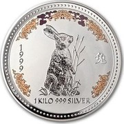 Australia 30 Dollars Lunar Year of the Rabbit (Colorized) 1999 KM# 505a 1999 1 KILO 999 SILVER coin reverse