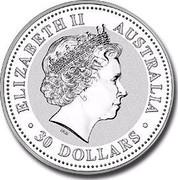 Australia 30 Dollars Piglet (Colorized) 2007 ELIZABETH II AUSTRALIA 30 DOLLARS IRB coin obverse