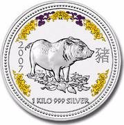 Australia 30 Dollars Piglet (Colorized) 2007 2007 1 KILO 999 SILVER coin reverse