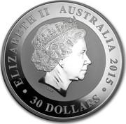 Australia 30 Dollars The Kookaburra 2015 ELIZABETH II AUSTRALIA 2015 30 DOLLARS IRB coin obverse