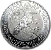 Australia 30 Dollars The Kookaburra 2015 THE AUSTRALIAN KOOKABURRA 1/2 OZ 999 SILVER 1990-2015 P25 coin reverse