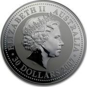 Australia 30 Dollars Tiger (Colorized) 2010 (2007) ELIZABETH II AUSTRALIA 30 DOLLARS 2007 IRB coin obverse