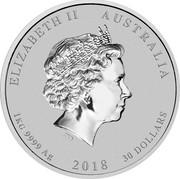 Australia 30 Dollars Year of the Dog 2018 2018 ELIZABETH II AUSTRALIA 1 KG 9999 AG 2018 30 DOLLARS IRB coin obverse