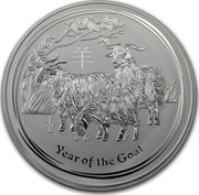 Australia 30 Dollars Year of the Goat 2015 YEAR OF THE GOAT P NM coin reverse