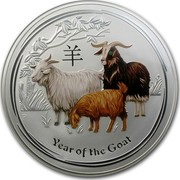 Australia 30 Dollars Year of the Goat (Colorized) 2015 YEAR OF THE GOAT P NM coin reverse