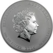 Australia 30 Dollars Year of the Horse 2014 KM# 2115 ELIZABETH II AUSTRALIA 1 KG 999 SILVER 2014 30 DOLLARS IRB coin obverse