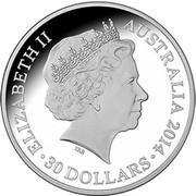 Australia 30 Dollars Year of the Horse - Eight Horses 2014  ELIZABETH II AUSTRALIA 2014 30 DOLLARS IRB coin obverse