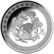 Australia 30 Dollars Year of the Horse - Eight Horses 2014  1 KG .999 SILVER CL coin reverse
