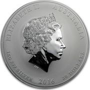 Australia 30 Dollars Year of the Monkey 2016 ELIZABETH II AUSTRALIA 1 KG 999 SILVER 2016 30 DOLLARS IRB coin obverse