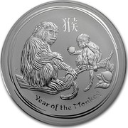 Australia 30 Dollars Year of the Monkey 2016 YEAR OF THE MONKEY P IJ coin reverse