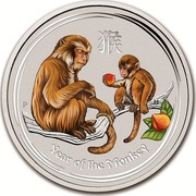 Australia 30 Dollars Year of the Monkey (Colorized) 2016 YEAR OF THE MONKEY P IJ coin reverse