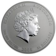 Australia 30 Dollars Year of the Mouse 2008 ELIZABETH II AUSTRALIA 1 KG 999 SILVER 2008 30 DOLLARS IRB coin obverse