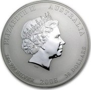 Australia 30 Dollars Year of the Mouse (Colorized) 2008 ELIZABETH II AUSTRALIA 1 KG 999 SILVER 2008 30 DOLLARS IRB coin obverse
