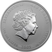 Australia 30 Dollars Year of the Ox 2009 KM# 1899a ELIZABETH II AUSTRALIA 1 KG 999 SILVER 2009 30 DOLLARS IRB coin obverse