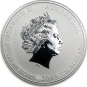 Australia 30 Dollars Year of the Ox (Colorized) 2009 ELIZABETH II AUSTRALIA 1 KG 999 SILVER 2009 30 DOLLARS IRB coin obverse