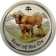 Australia 30 Dollars Year of the Ox (Colorized) 2009 YEAR OF THE OX P coin reverse