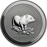 Australia 30 Dollars Year of the Pig 2007 2007 1 KILO 999 SILVER coin reverse