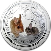 Australia 30 Dollars Year of the Rabbit (Colorized) 2011 YEAR OF THE RABBIT P coin reverse