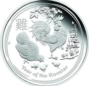 Australia 30 Dollars Year of the Rooster 2017 YEAR OF THE ROOSTER P coin reverse