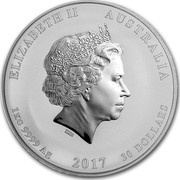 Australia 30 Dollars Year of the Rooster (Colorized) 2017 ELIZABETH II AUSTRALIA 1 KG 9999 AG 2017 30 DOLLARS IRB coin obverse