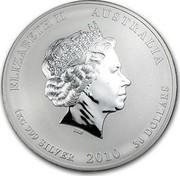 Australia 30 Dollars Year of the Tiger (Colorized) 2010 ELIZABETH II AUSTRALIA 1 KG 999 SILVER 2010 30 DOLLARS IRB coin obverse
