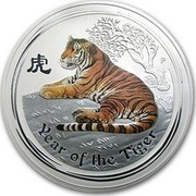 Australia 30 Dollars Year of the Tiger (Colorized) 2010 YEAR OF THE TIGER P coin reverse