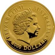 Australia 3000 Dollars Piglet 2007 ELIZABETH II AUSTRALIA 3000 DOLLARS IRB coin obverse