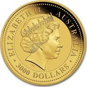 Australia 3000 Dollars Red Kangaroo 1 kilo 2016 ELIZABETH II AUSTRALIA ∙3000 DOLLARS∙ IRB coin obverse