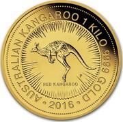 Australia 3000 Dollars Red Kangaroo 1 kilo 2016 AUSTRALIAN KANGAROO 1 KILO 9999 GOLD ∙*YEAR*∙ RED KANGAROO P coin reverse