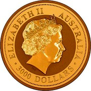 Australia 3000 Dollars Year of the Dog 2006 ELIZABETH II AUSTRALIA 3000 DOLLARS IRB coin obverse